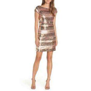 ELIZA J | Rose Gold Metallic Sequin Cocktail Dress